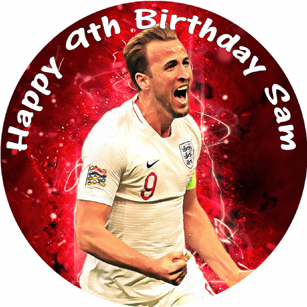 HARRY KANE ENGLAND PERSONALISED EDIBLE ROUND CAKE TOPPER